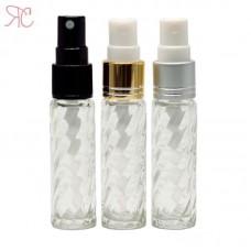 Transparent swirled glass perfume bottle with fine mist pump, 10 ml