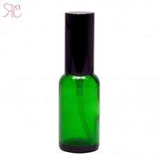 Green glass perfume bottle with spray pump, 30 ml