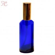 Blue glass bottle with golden pump, 100 ml