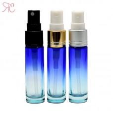 Blue gradient glass perfume bottle with fine mist pump, 10 ml