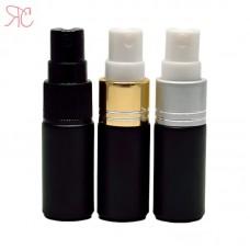 Black glass perfume bottle with fine mist pump, 5 ml