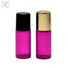 Pink glass roll-on bottle, 3 ml