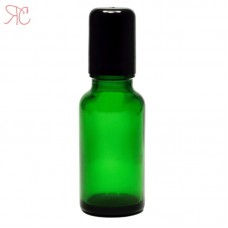 Green boston round glass bottle with roll-on, 20 ml